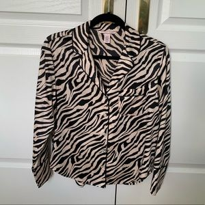 Victoria's Secret Silk Zebra Button Up Pj Top